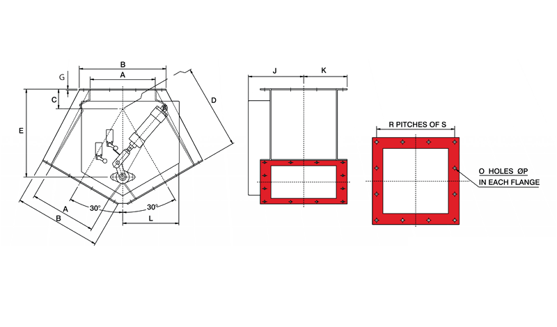 Gravity Diverter Valve Pneumatic Square