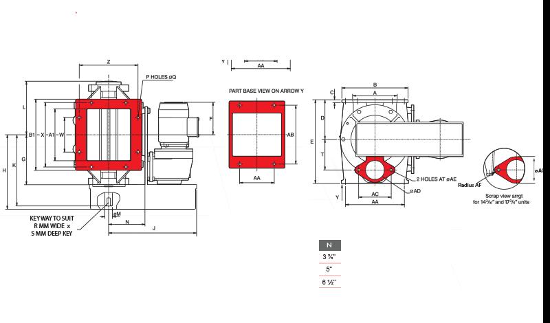 BLO-THRU Rotary Airlock Square Inlet Diagram