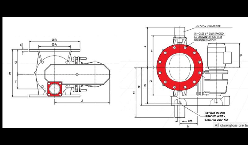 BLO-THRU Rotary Airlock Circular Inlet Diagram
