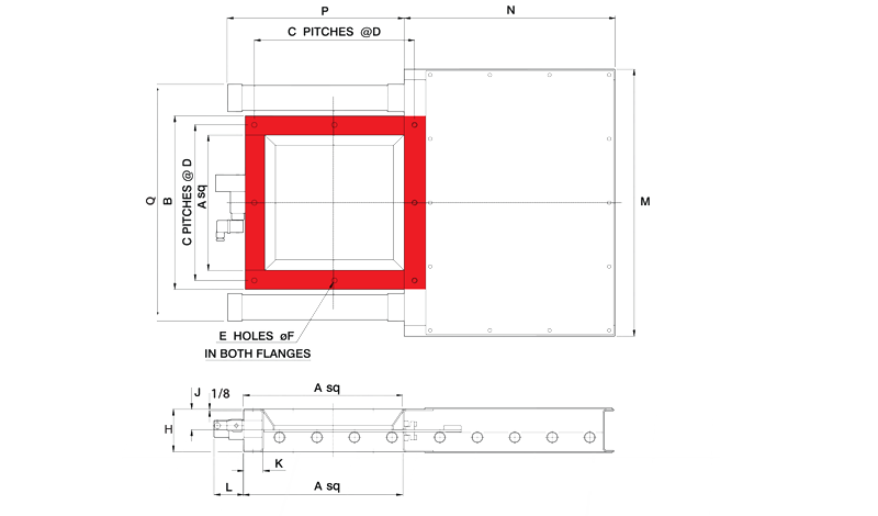 Fabricated Slide Gate Double Pneumaic Square Inlet