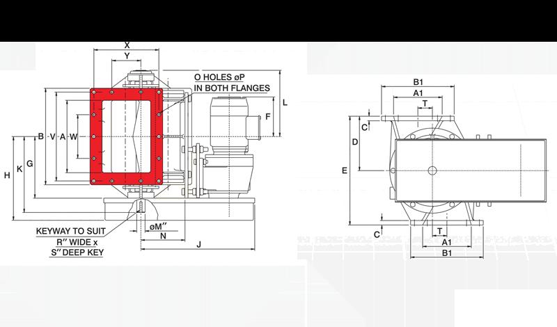 Offset Airlock Square Valve Diagram